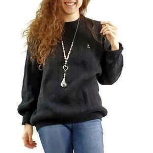 Izod Sweaters - IZOD // Charcoal Gray Windowpane Grandpa Sweater